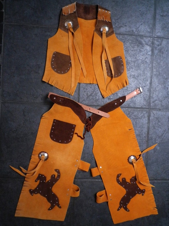 Vintage Kids Cowboy Halloween Costume Vest Chaps Pants Genuine Suede Leather Western Outfit Clothing FREE PRIZE