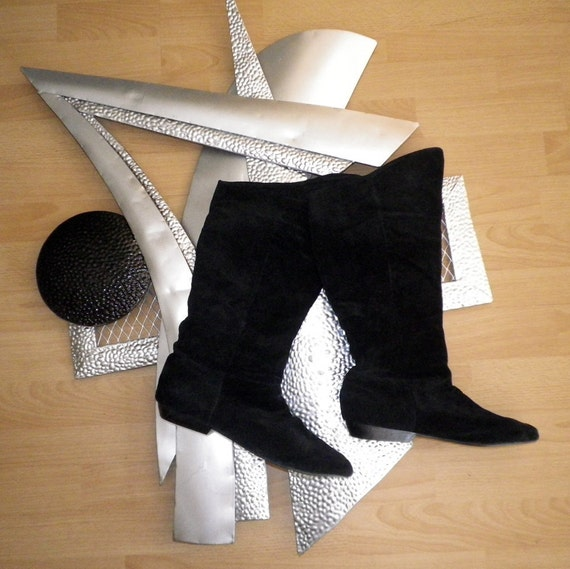 Bitchin Eighties 80s Black Suede Slouch Boots Scrunch Scrunchy Slouchy Style size 10