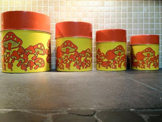 Vintage 1960s 1970s 60s 70s magic mushroom metal canister set for 60s kitchen set