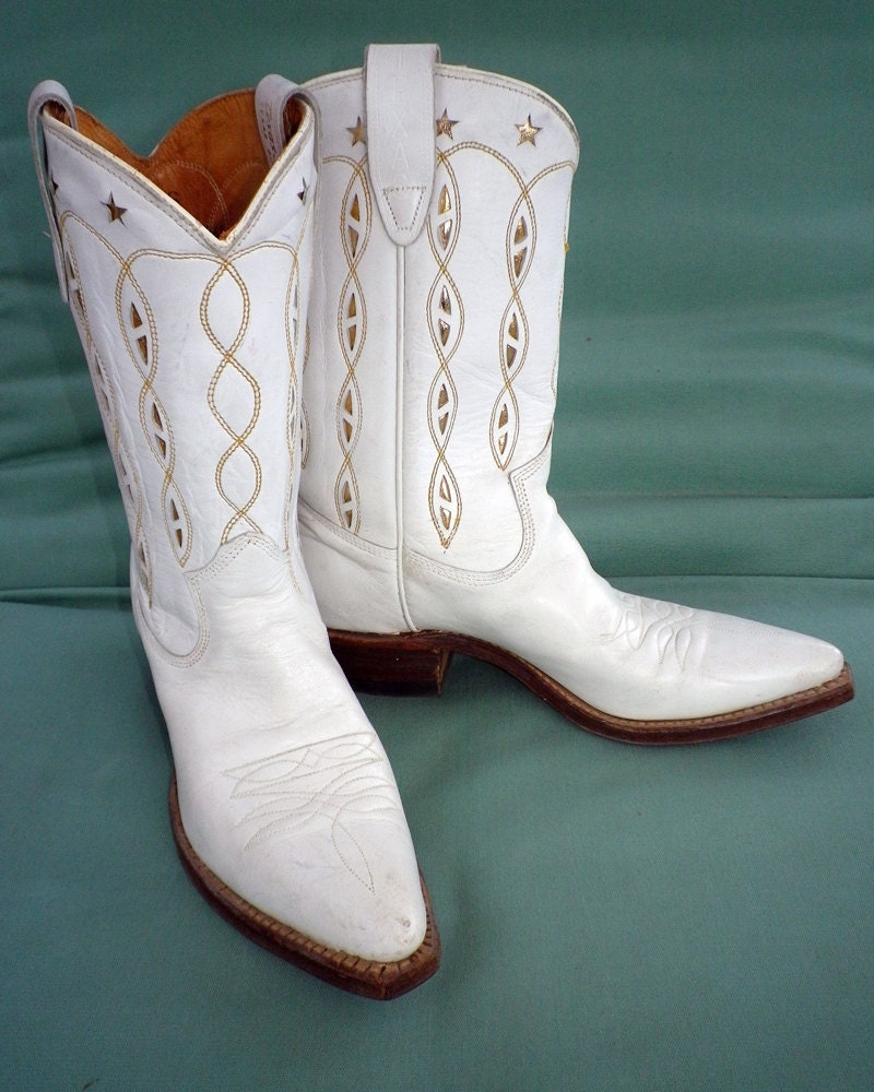 Vintage Cowboy Boots White with Gold Inlay 1950s 50s 1960s 60s