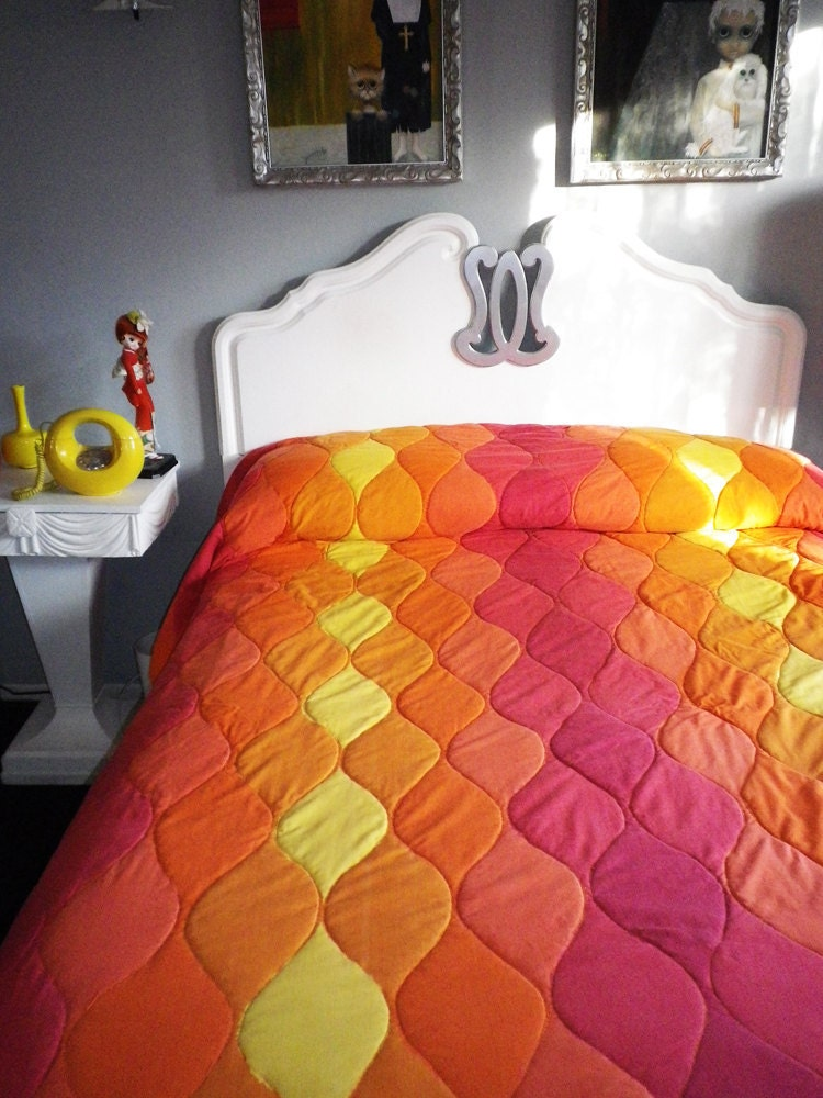 Midcentury Mod Vintage Comforter Sheets And Towel Set 60s 70s