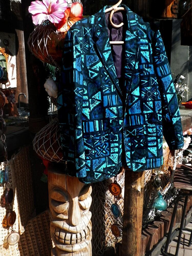Vintage 50s 60s Tiki Mens Hawaiian Aloha Blazer Suit Jacket