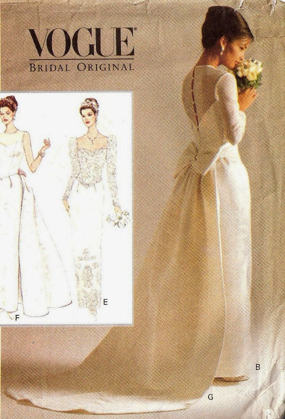 Vogue sewing pattern bridal wedding gown retro by for Can i make my own wedding dress