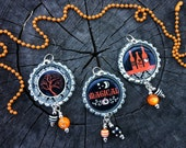 SALE - DAMASK HALLOWEEN bottle cap necklace - ball chain or ribbon - choose your favorite design - damask - orange and black
