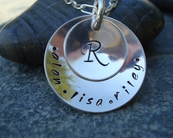 Hand Stamped Personalized Sterling Silver Monogram Necklace