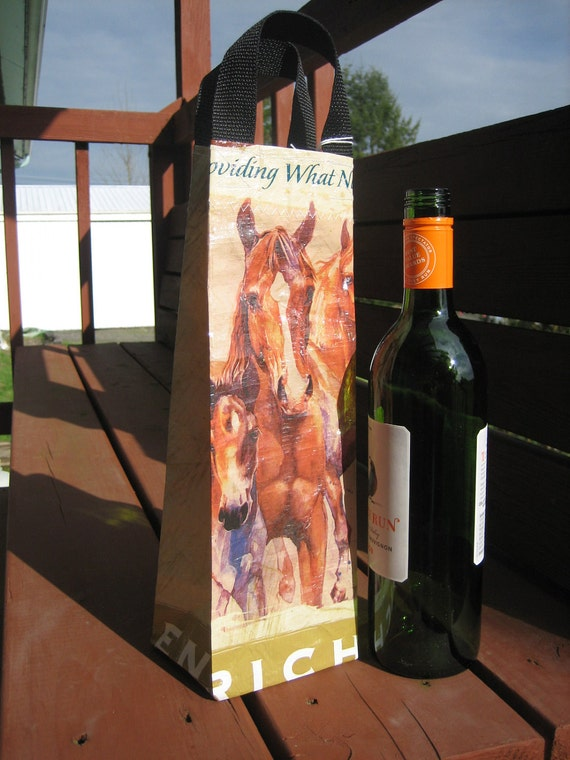 Wine Bag - Upcycled Horse Feed Bag - Umbrella Tote