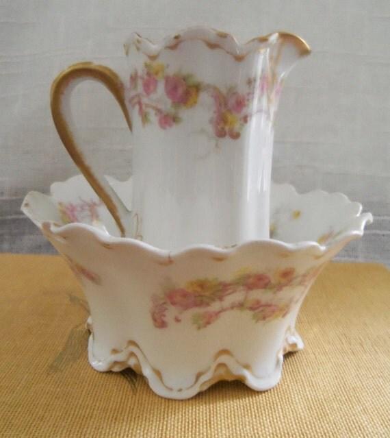 Antique Haviland Limoges China Creamer Sugar Bowl
