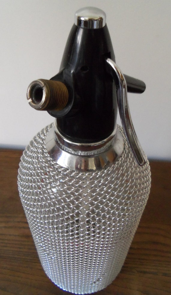 Vintage Seltzer Bottle with Metal Chain