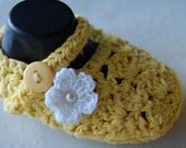 Mary Jane White & Yellow Crib Shoes 3-9 Months Ready to Ship