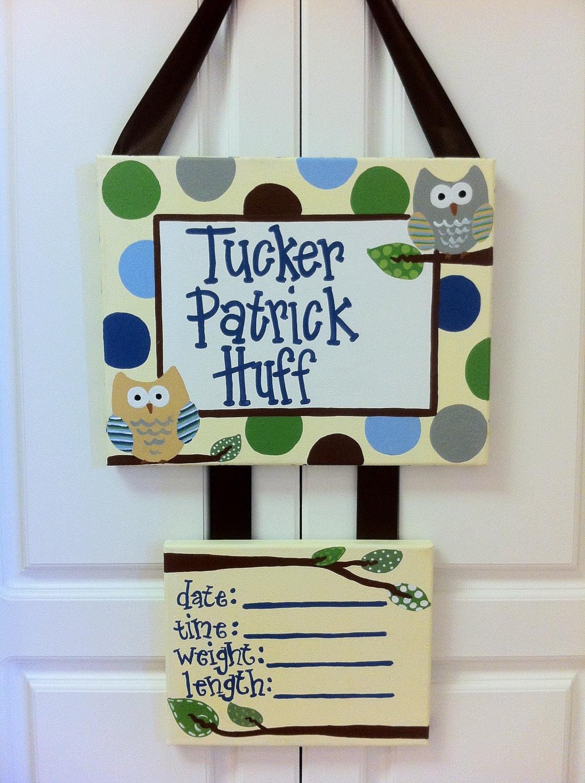Owl Hospital Birth Announcement Door Hanger By