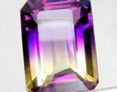 SALE Ametrine gemstone purple and yellow 26.53CT emerald cut facted AAA focal.
