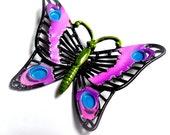 enamel butterfly brooch, vintage, purple, green, black, turquoise, necklace, 1960's