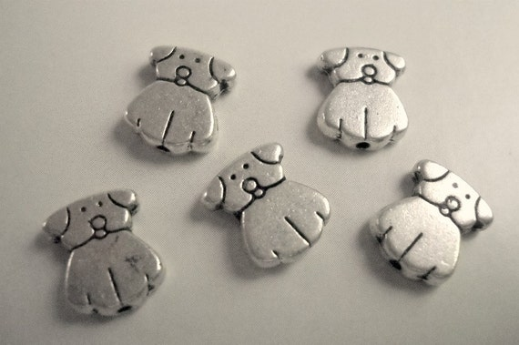 silver dog charms,  2 sided, 6pcs