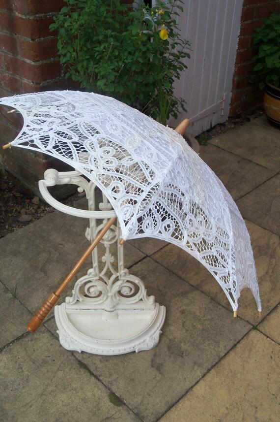 Vintage White Cotton Lace Parasol with Wooden Handle