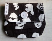 Coin purse screenprinted black and white