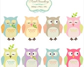 8 Pastel Owls - Personal Or Small Commercial Use (P026)
