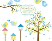 Baby blue &  Green Trees Sets - Personal Or Small Commercial Use (P052)