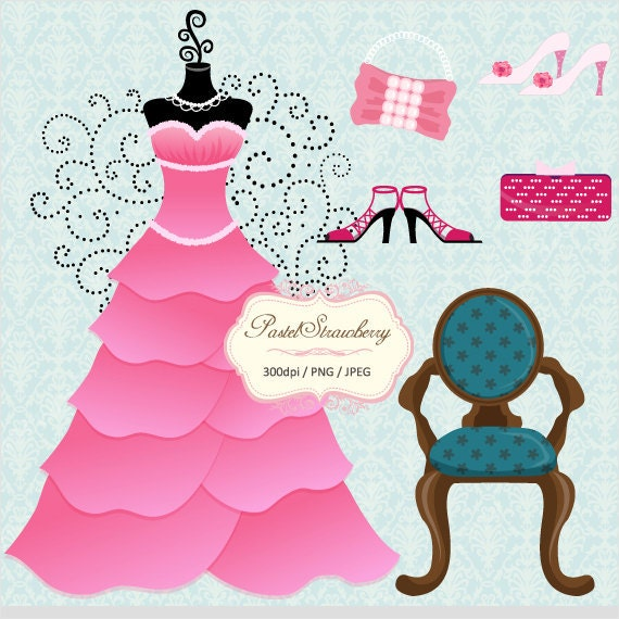 Pink Dress & Antique Chair - Personal Or Small Commercial Use Clip Art (P012)