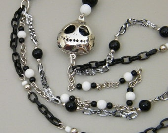 Jack - The Pumpkin King - Fun Nightmare Before Christmas Inspired Multi Strand Assymetrical Black White Silver Necklace