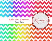 Rainbow Chevron Paper Pack Digital Scrapbook Papers
