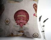 French linen pillow cover - Hot air balloons over Paris - 18 x 18