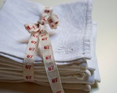 Vintage french linen napkins - set of 6 napkins with white embroidered monograms
