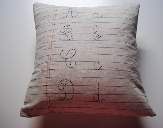 Linen pillow case 16 x 16 - Vintage school