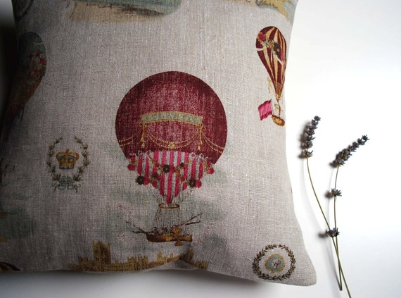 French linen pillow cover - Hot air balloons over Paris - 18 x 18