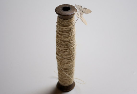 Vintage french wooden spool with hemp twine