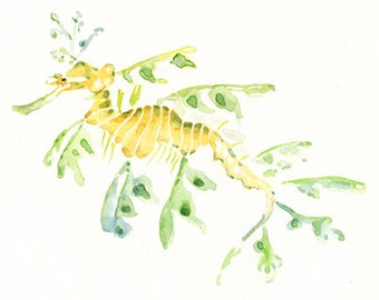 LEAFY SEA dragon 7x5inch-Art Print-animal Watercolor Print-Giclee Print