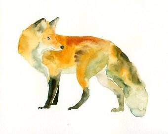 FOX-ACEO print-Art Print-animal Watercolor Print-Giclee Print-Nursery decor
