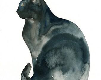 CAT  5x7 Print-Art Print-animal Watercolor Print-Giclee Print--Children's Wall Art
