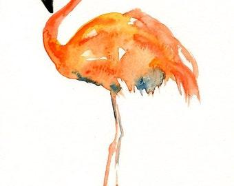 FLAMINGO  5x7 Print-Art Print-Bird Watercolor Print-Giclee Print-