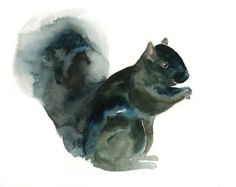 SQUIRREL  7x5inch Print-Art Print-animal Watercolor Print-Giclee Print-