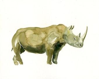 RHINO 7x5inch-Art Print-animal Watercolor Print-Giclee Print