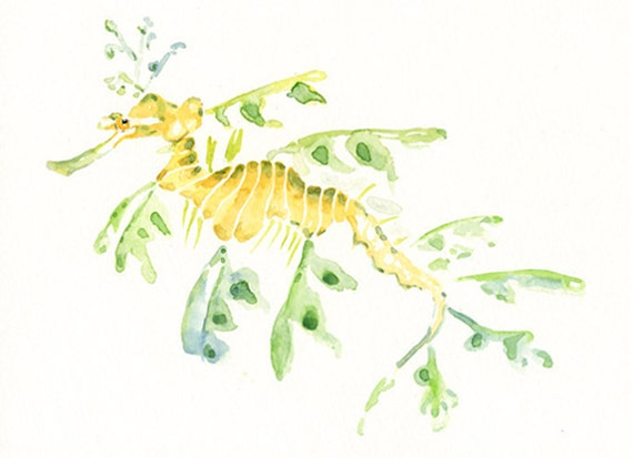 LEAFY SEA dragon 7x5inch-Art Print-animal Watercolor
