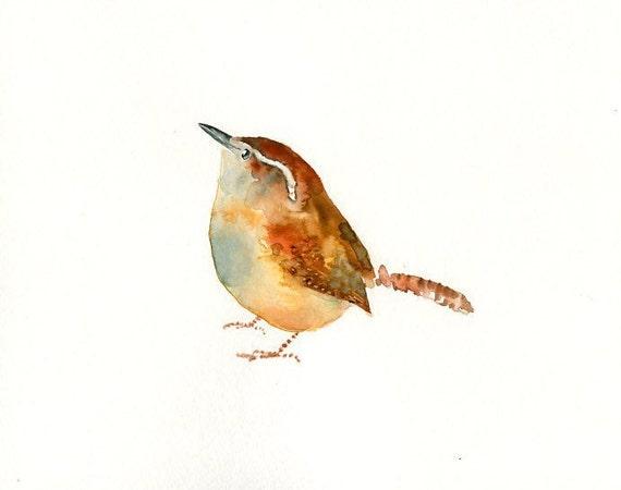 CAROLINA WREN-7x5inch Print-Art Print-animal Watercolor Print-Giclee Print-Nursery decor-Playroom Decor-Nursery wall art-bird art