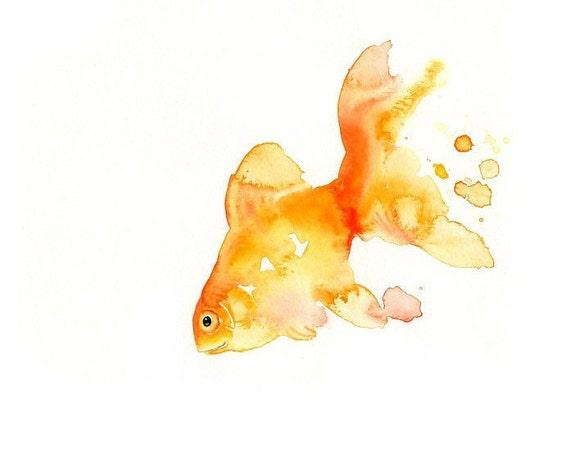 GOLDFISH 7x5inch-Art Print-animal Watercolor Print-Giclee Print