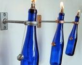 2 Blue Wine Bottle Oil Lamp - INDOOR - Wall Decor - Hanging Lantern - Cobalt Blue Lighting - Wine bottle Lamp