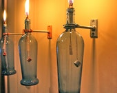 Blue Wine Bottle Oil Lamp - INDOOR - Modern Lighting - Christmas gift idea for mom - Hurricane Lamp