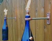 1 Cobalt Blue Wine Bottle Tiki Torch - Spring Outdoor Lighting - Hanging Lantern - Gift for Women - Outdoor Tiki Torch
