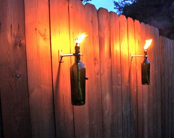 3 Green Wine Bottle Tiki Torches - Outdoor Christmas Lighting -christmas gift for men - Hurricane Lamp - Patio Lantern - Copper Lighting
