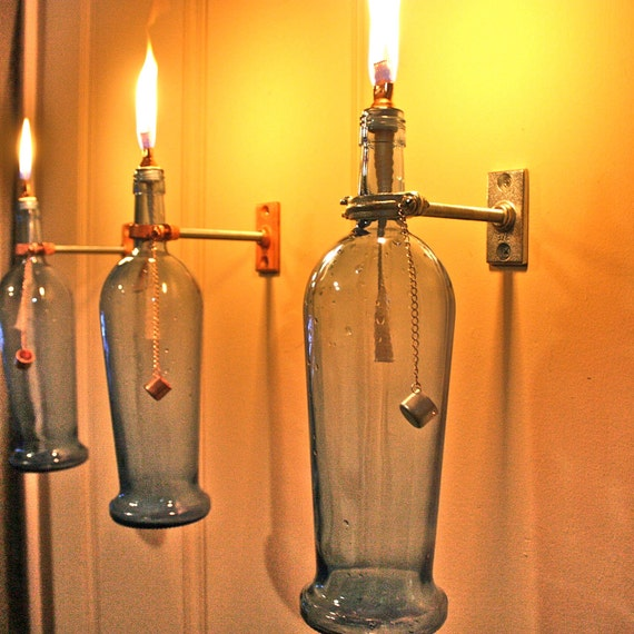 Indoor Wall Lantern Lights : 4 Blue Wine Bottle Oil Lamps INDOOR Wall by GreatBottlesofFire