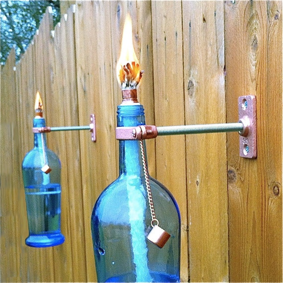 Items similar to blue wine bottle tiki torch outdoor for Wine bottle patio lights