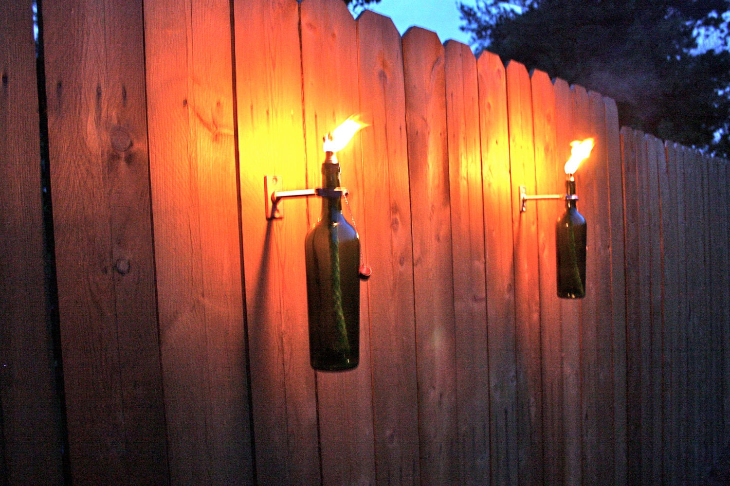 4 green wine bottle tiki torches outdoor lighting hanging