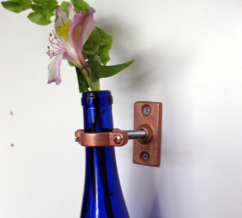 1 cobalt blue wine bottle wall flower vase mothers day for How to make flower vases out of wine bottles