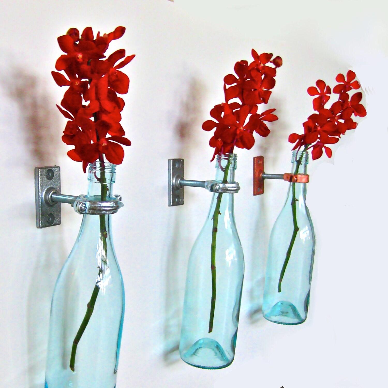 Turquoise wine bottle flower vases 3 by greatbottlesoffire for Wine bottle flower vase