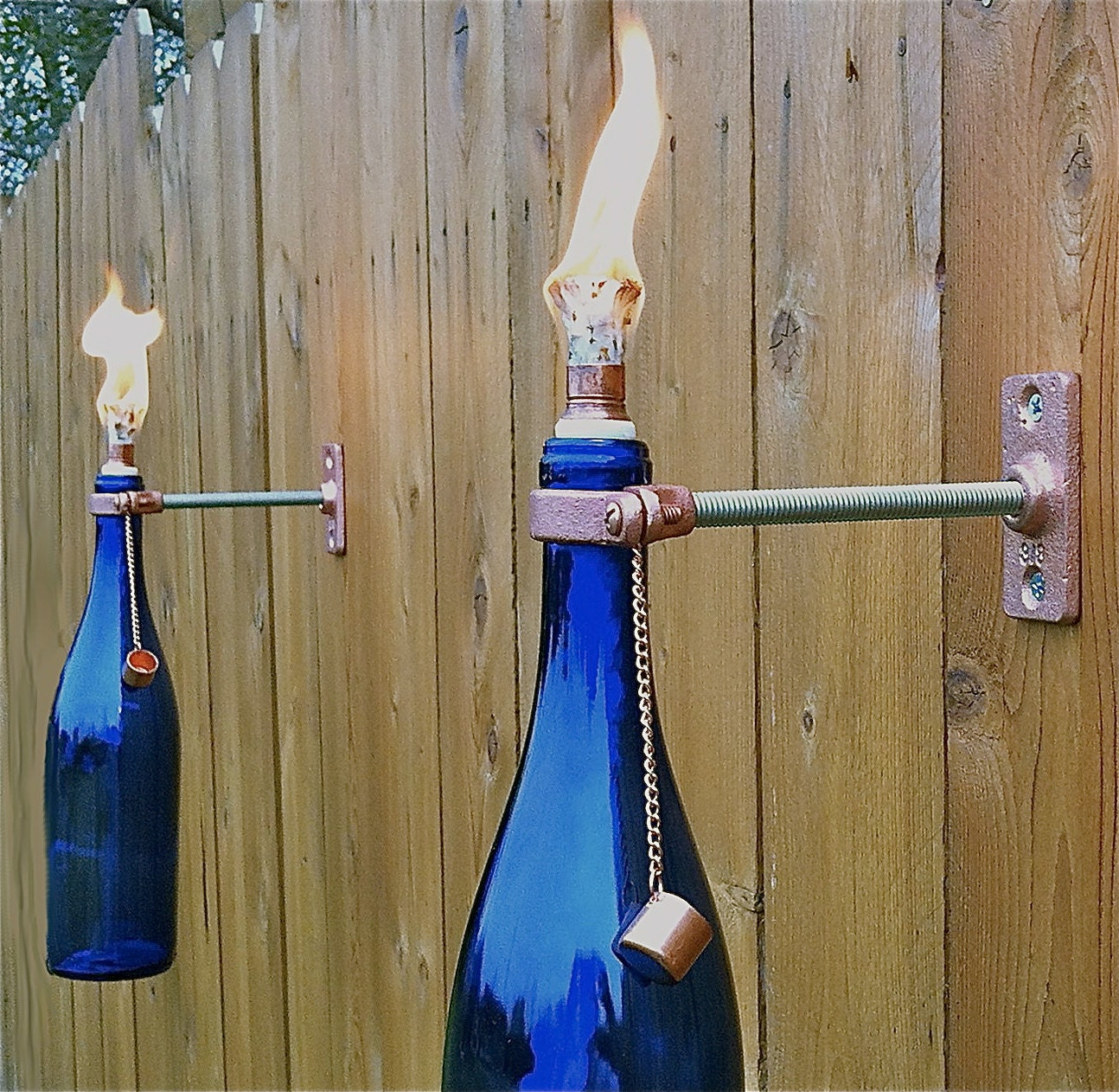 4 hardware only wine or beer tiki torch by greatbottlesoffire for Outdoor tiki torches