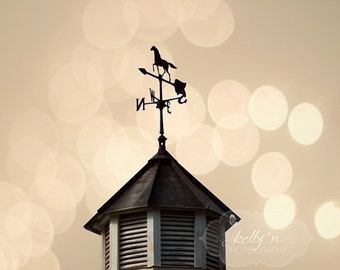 Weather Vane Photo- Horse Weather Vane Print, Country Decor, Farm House Decor, Warm Tones,  Barn Spire Photo, Rustic Wall Art