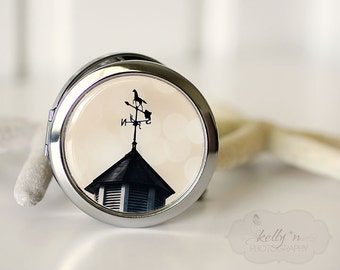 "Photo Mirror Compact- ""Weather Vane"", Horse Weather Vane Photograph, 3"" Double Sided Mirror- Engravable Gift Item"